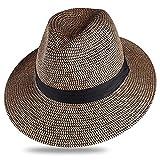 LJLLINGC Sombrero de Verano para mujereshombrespanamásombreros de pajaviajesplayasombrero para el solala anchasombrero de Jazz