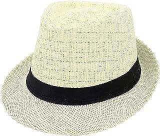 SHENTIANWEI Summer Straw Sun Hat Jazz Hat Straw Fedora Hat Women Men Couple Pattern Woven Fashion Sun Hat