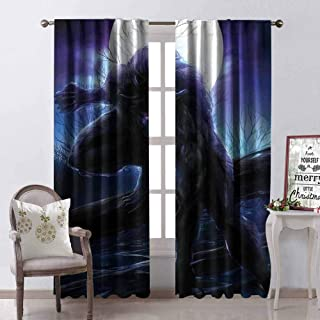 GloriaJohnson Fantasy World Heat Insulation Curtain Surreal Werewolf with Electric Eyes in Full Moon Transformation Folkloric for Living Room or Bedroom W52 x L84 Inch Purple Blue