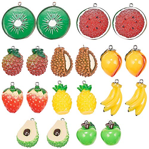 SUNNYCLUE 20pcs 10 Styles Cute Fruits Pendant Charms with 2mm Hole 3D Resin Watermelon Lemon Banana Pineapple Kiwi Strawberry Pendant for Jewellery Earring Making Craft Accessories Supplies