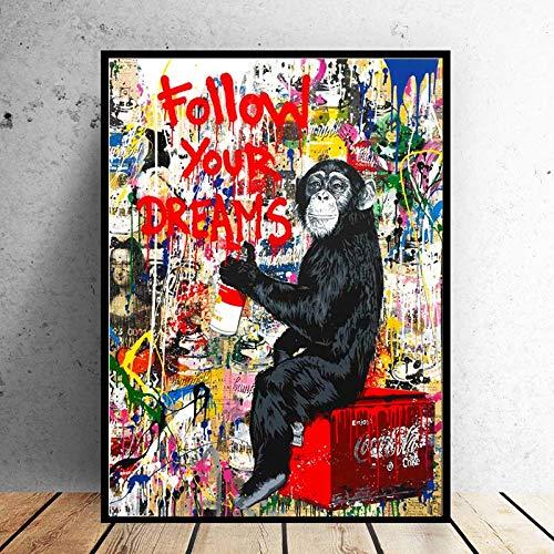 PSpXU Arte Sigue Tus sueños Mono Gorila Animal Fotos Lienzo Pintura Arte de la Pared para Sala de Estar decoración del hogar-Sin marco-60X75cm