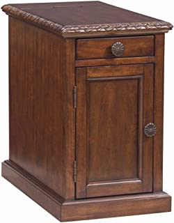 End Tables with USB Ports and Outlets Laflorn Chair Side End Table Charging Station with Storage Made of Veneers,Wood and Manmade Wood Great Addition to Any Room (Dark Brown)