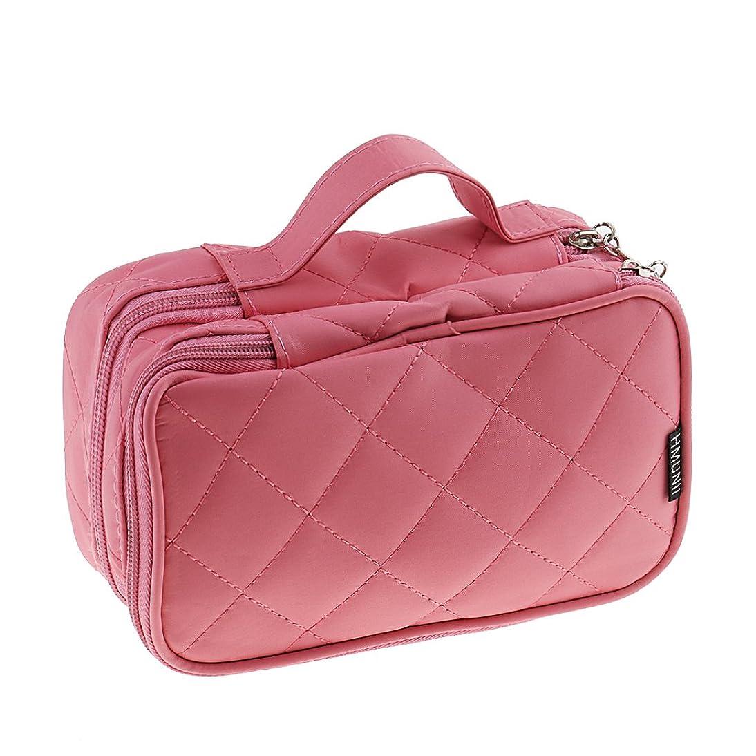 よろしく乳バンクBaosity メイクアップバッグ 2層 防水 旅行 デュアルジッパー開閉 バッグ ポーチ 4色選べ - ピンク