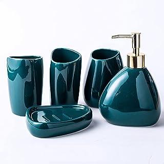 Ensemble d'accessoires de Salle de Bain en céramique de 5 pièces, Comprend Un Distributeur de Savon Liquide, Un Porte-Bros...