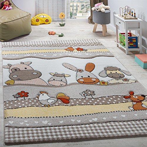 Paco Home Kinderteppich Kinderzimmer Lustige Bauernhof Tiere Konturenschnitt Beige Grau, Grösse:120x170 cm