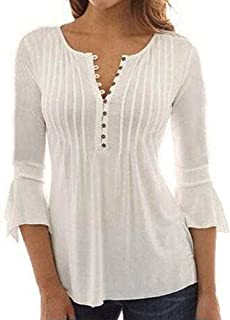 LINGMIN Women V Neck Loose Pleated Henley Casual Tunic Tops 3/4 Bell Sleeve Blouses