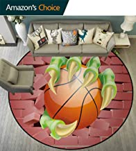 DESPKON-HOME Brick Wall Round Area Rug,Claw Beast Monster Hand Holds Basketball Through Brick Wall Paint Design Non-Slip Fabric Round Rugs for Bedroom Diameter-35 Inch,Coral Orange Lime Green