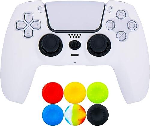 9CDeer 1 x Silicone Protecteur épais Couverture Peau + 6 Thumb Grips pour Manette Playstation 5 / PS5 / Dualsense blanc