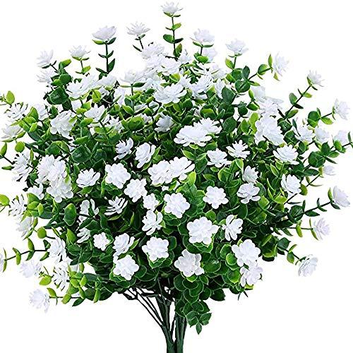 DEDC 4PCS Flores Artificiales, Resistentes a los Rayos Ultravioleta, Plantas para Interiores y Exteriores, Decoración para Jarrón, Porche, Ventana, Patio, Boda, el Hogar (Blanco)