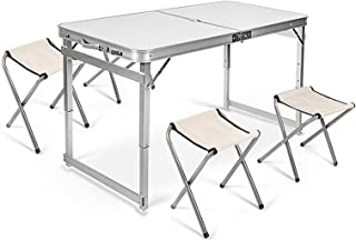 Fold Down Table Desk With Four Folde Chair Durable Portable Aluminium Alloy Camping Folding Table for Outdoor Picnic WYAYD...