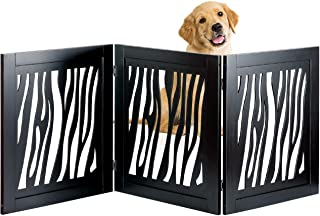 Bundaloo Pet Gate | Expandable & Folding Wood Fence for Dogs & Cats with Three Panels for Blocking Doors, Stairs, Steps | Freestanding Safety Enclosure for Home & Indoor
