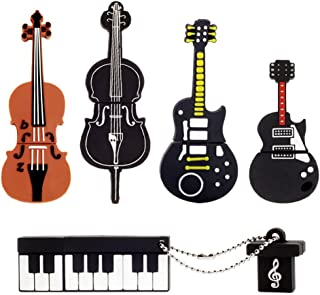 LEIZHAN 5x8GB USB メモリ?フラッシュドライブ楽器USB 2.0メモリースティックPendrive(イエローギター、レッドギター、チェロ、ヴァイオリン、ピアノ)