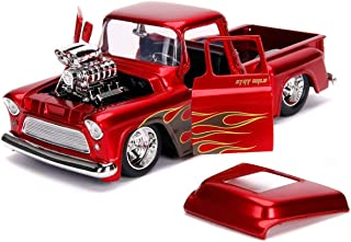 1955 Chevrolet Stepside Pickup Truck with Blower Candy Red with Flames Just Trucks Series 1/24 Diecast Model Car by Jada 30713