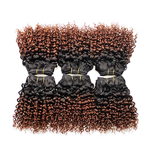 Barroko Sew In Human Hair Weave Ombre Hair T1b/33 Brazilian Kinky Curly Virgin Hair 8inch Curly Wave 4 Bundles Virgin Bob Wave