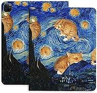 ゴッホ 星月夜 猫iPad Pro 12.9 ケース 2020 iPad 12.9インチ / iPad Pro 11インチ 2020用ハード背面カバー 手帳型 高級品質 PUレザー カバー オートスリープ/ウェイク機能 Apple Pencil 2 ワイヤレス充電対応 軽量 留め具付き 角度調節可能な鑑賞スタンド 防衝撃デザイン 三つ折りスマートケース