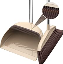 Dustpan and Soft Brush Set 3-Layer Brushed Broom and Long Handle Collapsible Dustpan Set Kitchen Bedroom Cleaning Tool (Be...