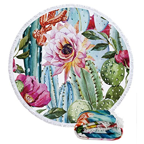 Round Roundie Beach Towels Flower Cactus Beach Blankets Oversized Ultra Soft Fresh Yoga Picnic Mat Tablecloth Bedroom Decorations with Long Fringe Tassels
