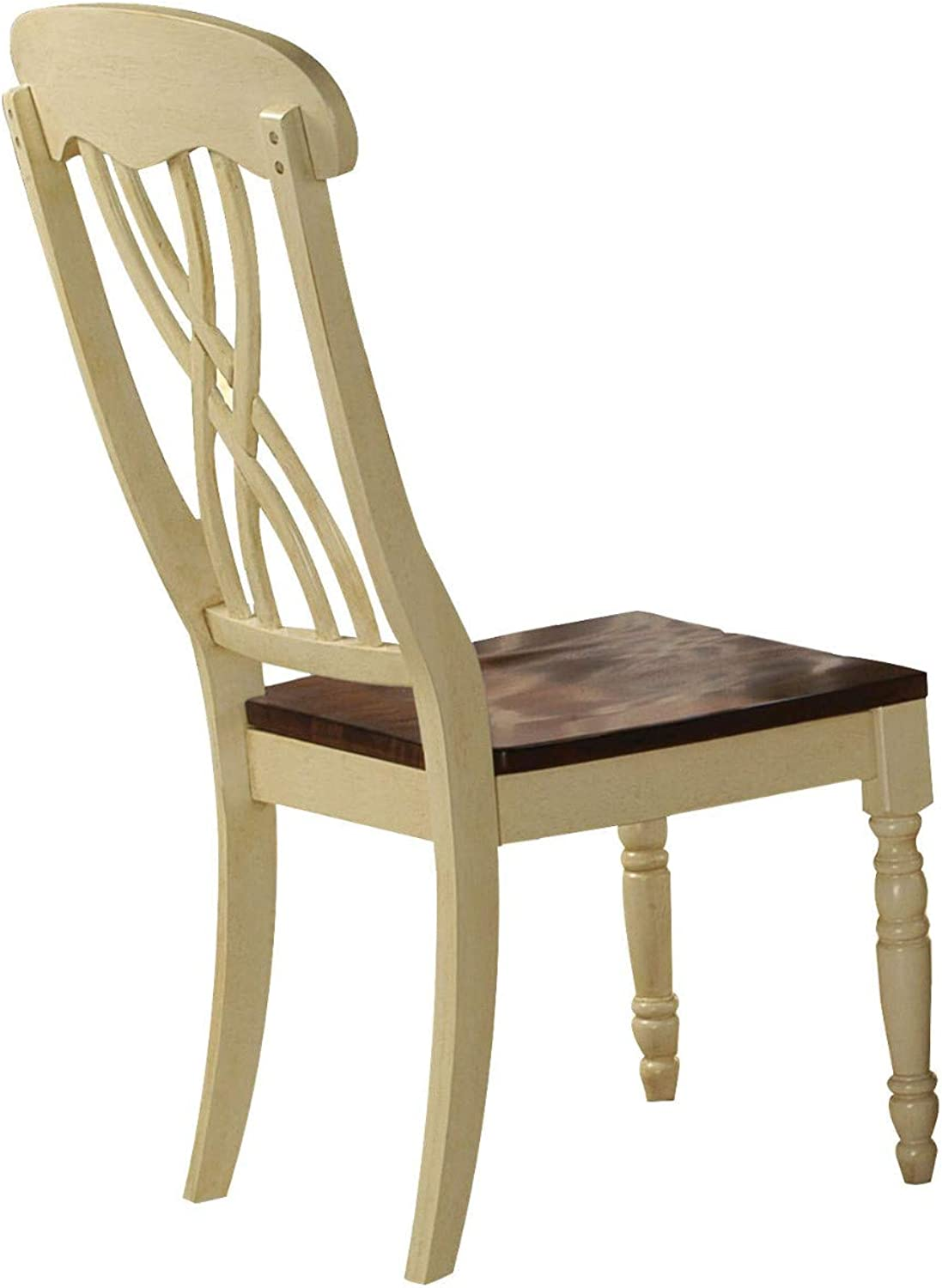 Benjara BM194400 Wooden Side Chair with Overlapped Design Back, Set of Two, White and Brown