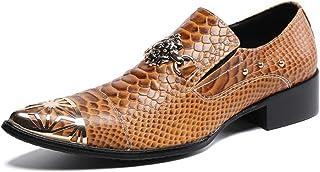 YIZHIYA Chaussures en Cuir Pointues pour Hommes,Chaussures d'uniformes habillées Homme de Style Britannique en Cuir vérita...
