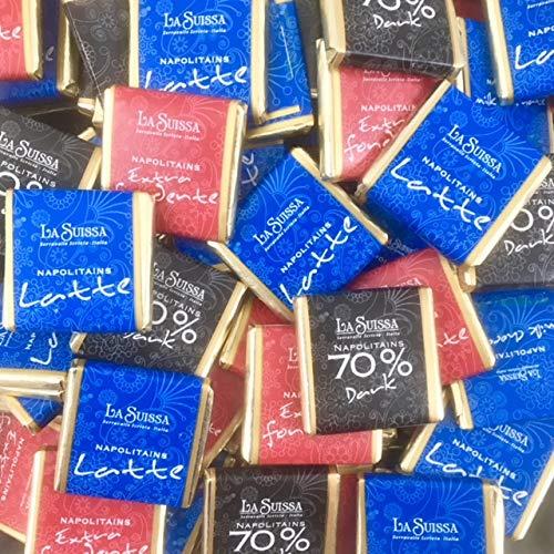 Cioccolatini di cortesia Napolitains La Suissa - Confezione da 3 kg (540 cioccolatini) - Assortimento di cioccolato Fondente extra 52%, Fondente extra 70%, al Latte. Senza glutine