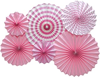 ADLKGG Hanging Paper Fans Party Set, Round Pattern Paper Garlands Decoration for Birthday Baby Girl Shower Graduation Bachelorette Valentine's Day, Set of 6 (Pink)