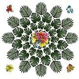 PietyDeko 96 Stück Simulation Hawaiian Hibiskus Blumen Hibiskusblüten und Tropische Blätter Deko Grün Palme Hawaii Kunstpflanze Tischdeko für Hawaiianische Tisch Party Dschungel Strand Luau Thema