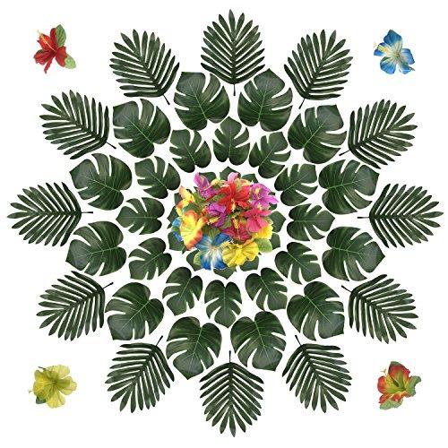 PietyDeko 96 Stück Tropische Palmblätter und Hawaiian Blumen für Dekorationen