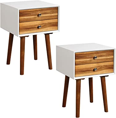 Giantex End Table W/Drawers and Storage Wooden Mid-Century Accent Side Table Multipurpose for Bedroom, Living Room Home Furniture Nightstand (2, Brown)