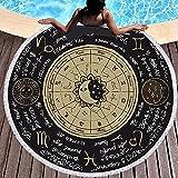 Haifei - Manta redonda de playa, mandala, manta de picnic, mantel de playa, alfombra de meditación, alfombra de yoga, círculo (J,59 x 59)