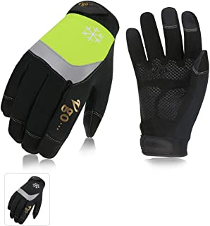 Vgo 2Pairs 32℉ or Above 3M Thinsulate C40 Lined High Dexterity Touchscreen Synthetic Leather Winter Warm Work Gloves,Waterproof Insert (Size L, Black+Fluorescent Green,SL8775FW)