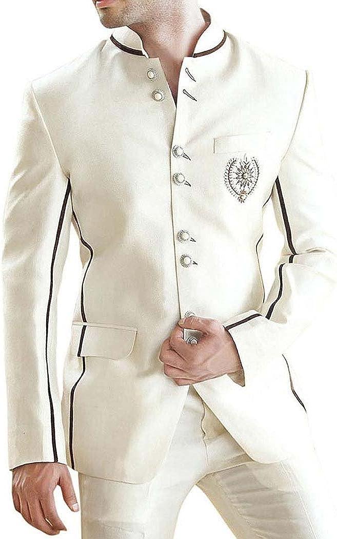 INMONARCH Mens Cream 2 Pc Jodhpuri Suit Eight Button JO0244