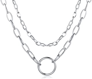 Cross Chain Necklaces For Women,Layered Choker Long Silver Stainless Steel Necklace For Teen Girls Friendship Dainty Best ...