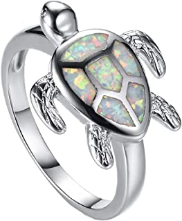 Health and Longevity Sea Turtle Jewelry Rings Created White Opal Sea Turtle Birthstone Sterling Silver Ring