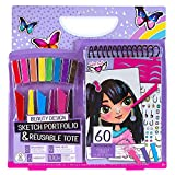 Fashion Angels Beauty Sketch Portfolio & Carry Keeper (12604), Beauty Coloring Book, Carry Tote, Includes Markers & Crayons, 100 Stickers, for Kids Ages 8 and Up