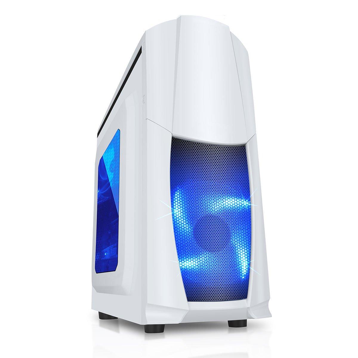 CiT Dragon 3 Caja Midi con Ventiladores Azules led de 12 cm y Rejilla Lateral Blanco Blanco: Amazon.es: Informática