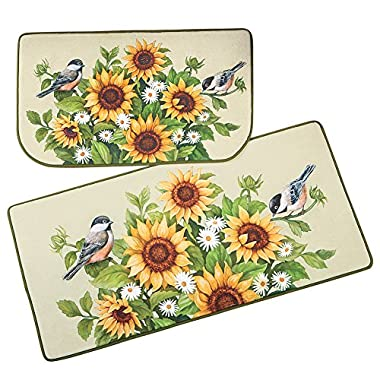 Collections Etc Sunflowers, Daisies and Chickadees 2 Piece Accent Rug Set with Skid Resistant Backing