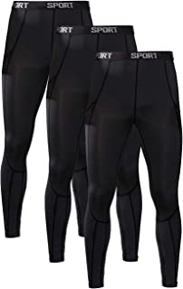 FANDIMU 1 or 3 Pack Men's Compression Pants Base Layer Workout Leggings Quick Dry Running Tights