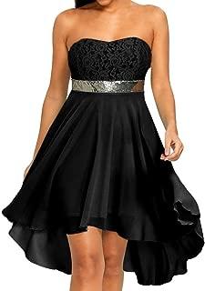 Women's 2018 Casual Summer Off Shoulder Empire Waist Chiffon Multi Layer High Low Party Dress