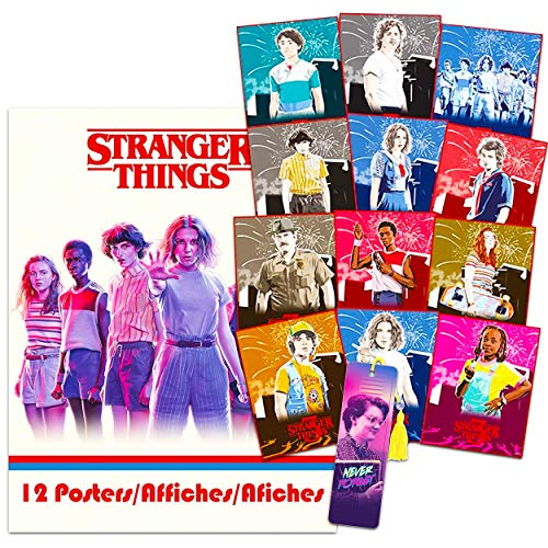 Juego de pósteres de Stranger Things con 12 pósteres con once, Dustin, Mike, Will y más (Stranger Things Room Decor)