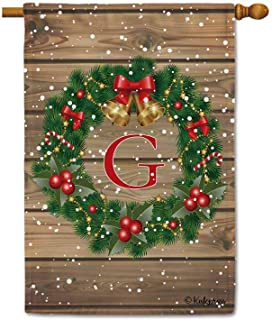 KafePross Merry Christmas Decorations Holly Bell Monogram G House Flag Winte Snow Xmas Tree Letter Initial Decor Banner for Outside 28