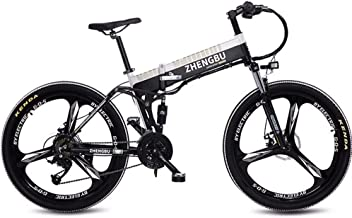 JJGS Electric Folding Bike - 26'' Electric Mountain Bike, Dual Disc Brakes Electric Bicycle, 48V 10Ah Rechargeable Lithium Battery, Three Working Modes, Commute Ebike