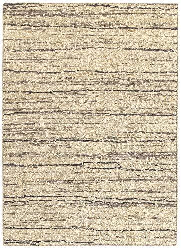 HAMID - Tapis Kilim Montana au Design Rustique - 100% Laine - Tapis Noué à la Main - Tapis de Salon, Chambre, Salle à Manger - Tons Marron et Beige - Design 6 (140x200cm)