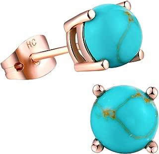 Turquoise Stud Earrings for Women Girls 18k Rose Gold Plated 7mm Round Birthstone Earrings as Gift for Women