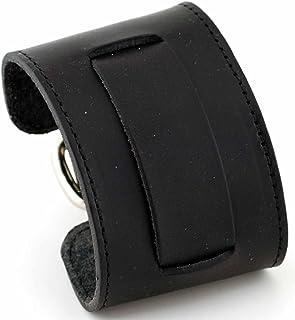 ネメシス# stw-kk Wideブラック革カフ腕時計バンド