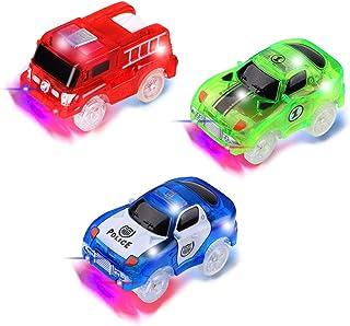 PROACC 3 Piezas Track Race Car (Coche de policía, Coche de Carreras, Coche de camión de Bomberos), Circuito Coches Juguete Niño, Coches Led Accesorios de Pista para Niños 3 4 5 6 Años