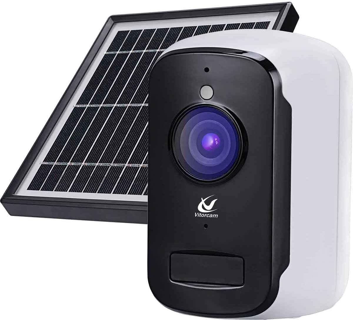 Wireless Rechargeable Battery Powered with Solar Panel WiFi IP Surveillance Home Security Camera, Night Vision, Human Motion Detection, 2-Way Audio, IP65 Waterproof A2+