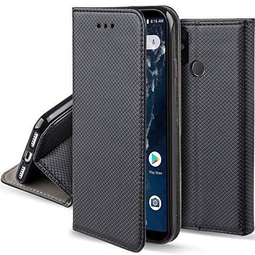 Moozy Funda para Xiaomi Mi A2, Mi 6X, Negra - Flip Cover Smart Magnética con Soporte y Cartera para Tarjetas