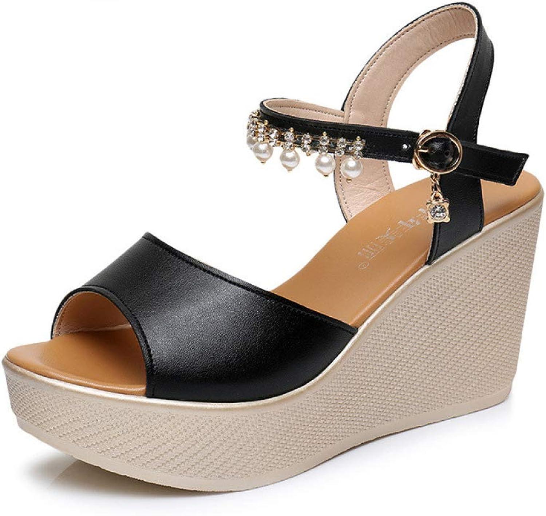 T-JULY Women's Sandals Woman Wedge shoes Ankle Pearl Platform Peep-Toe Footwear Ladies Elegant Black White Slingback shoes
