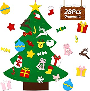 UMIKU Felt Christmas Tree for Kids Toddlers 28pcs Ornaments DIY Christmas Tree Kids Xmas Gifts Hanging Home Door Wall Christmas Decorations 40 Inches