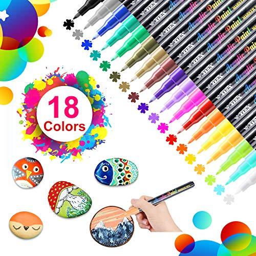 18 Colores Rotuladores de Pintura Acrílica Rotuladores Permanentes de Colores Rotuladores Acrilicos Permanentes Pintura para Tela,Pintar Piedras,Metal, Madera, Vidrio,Huevo de Pascua,DIY(0.7mm)